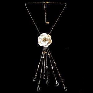 NEW Miriam Haskell Floral Crystal Y Necklace